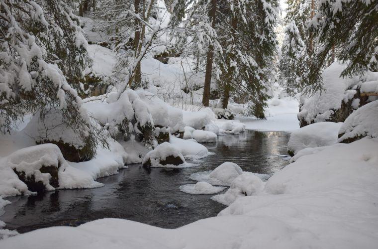 River on winter time, Myllykoski, Ruokolahti